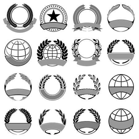 achievement clip art: wreath and ribbons set