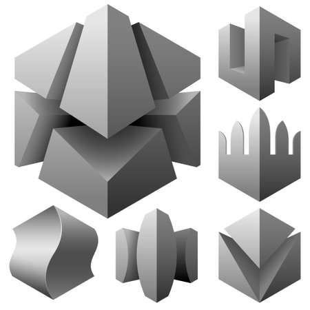 abstract 3d vector objects set Vector