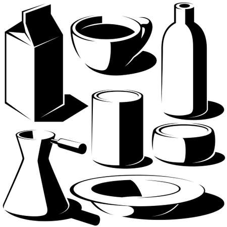 envase de leche: beber alimentos plato set