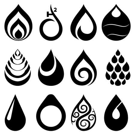 water drops: drop icons and signs set Illustration