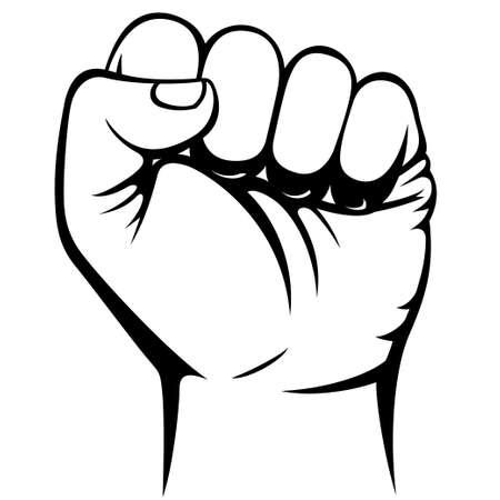 男性のくいしばられた握りこぶしの手  イラスト・ベクター素材