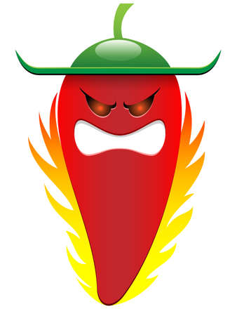 red chili pepper character Vector