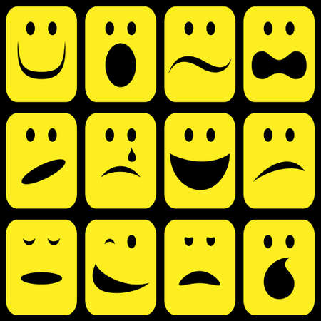 bored face: emotion signs set
