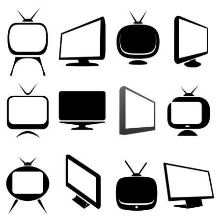 unwind: tv icons and signs set Illustration