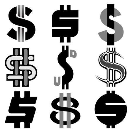 unwind: US dollar icon set Illustration