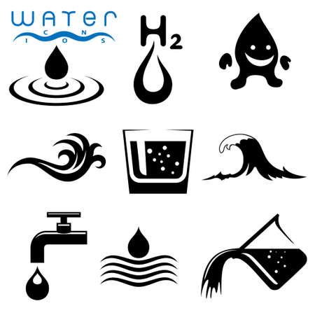 agua purificada: relacionados con el agua iconos conjunto