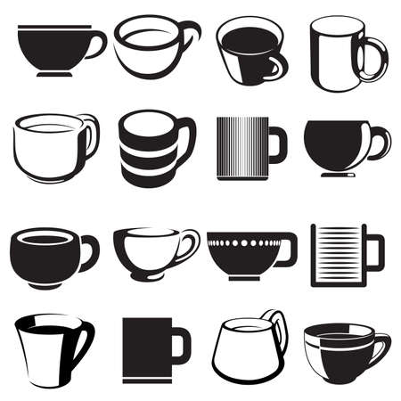 cup icons and signs set Stock Vector - 17405612