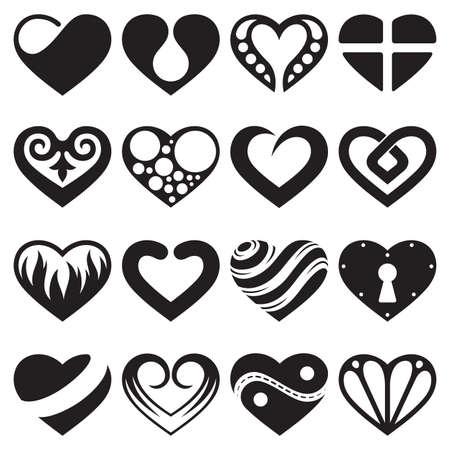 心臓のアイコンやサインのセット