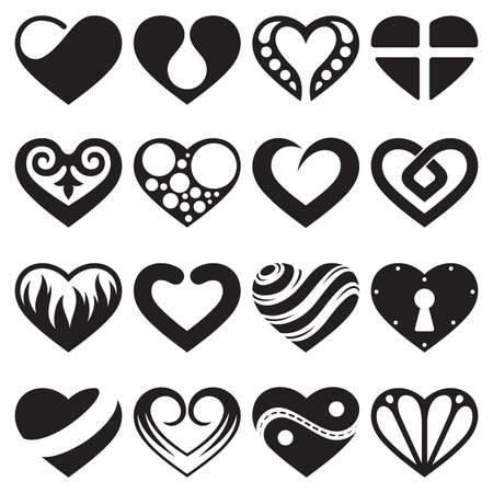 heart icons and signs set Illustration