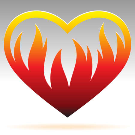 burning heart: burning heart sign Illustration
