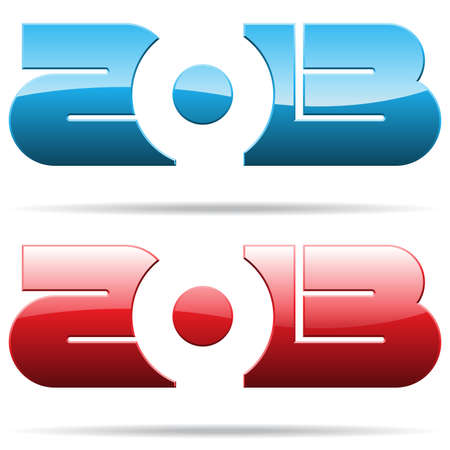 metallic 2013 year number Vector