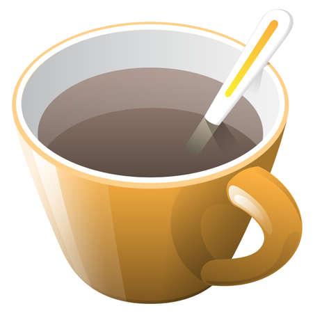 unwind: orange cup of coffee with spoon