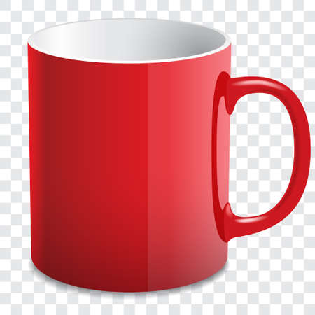 red glossy mug vector Vector