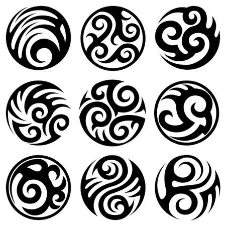 indigenous: round tattoos set