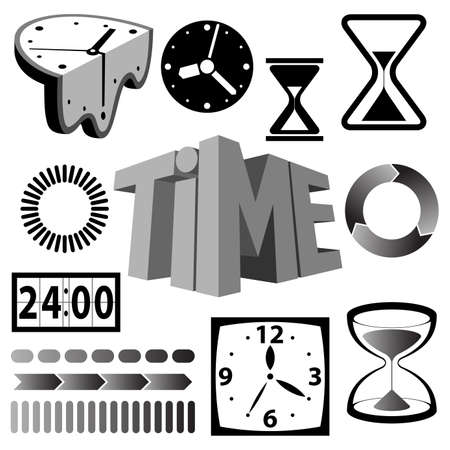 digital clock: time icons and signs Illustration