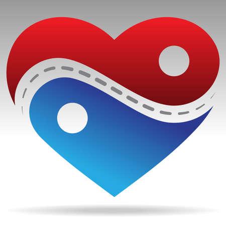 ying yang: ying-yang shape heart object