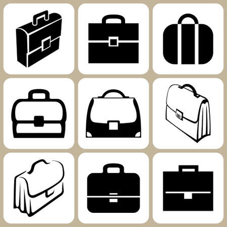 Briefcase icons set