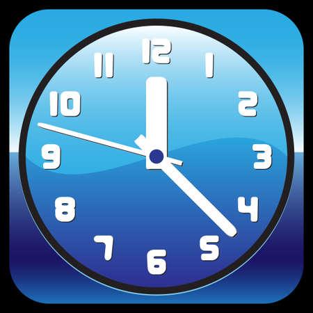 blue shiny clock illustration Stock Vector - 18877111