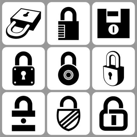 combination lock: lock icons set