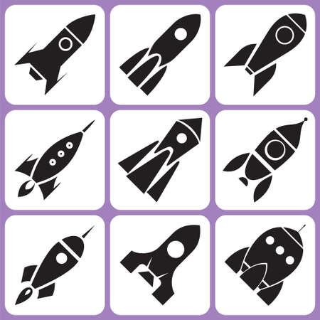 mosca caricatura: Iconos de cohetes establecer