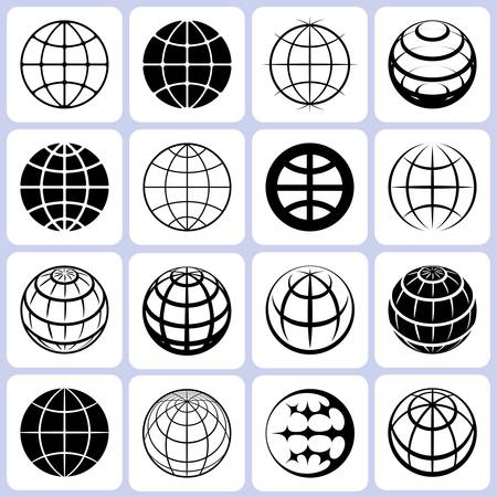 wire globe: globe icons set illustration