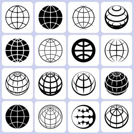 globo terraqueo: iconos mundo establecer ilustración