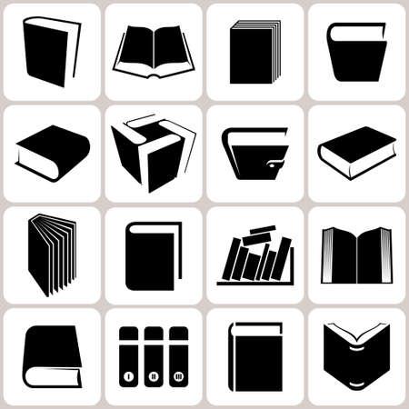 16 boek pictogrammen set illustratie