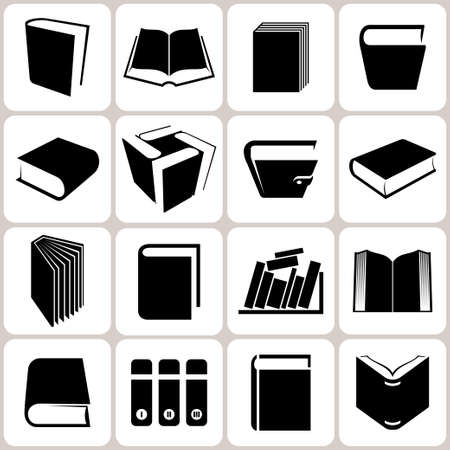 book page: 16 book icons set illustration Illustration