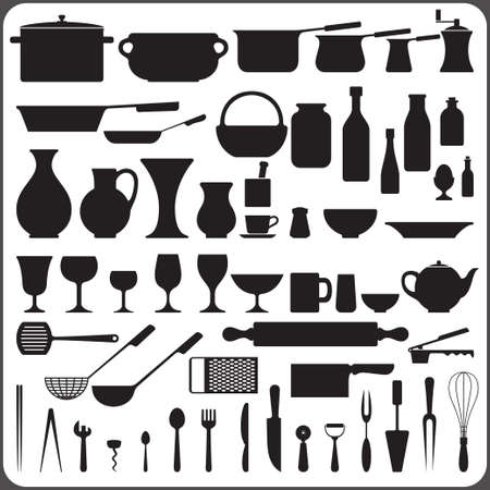 kitchenware set of 57 object silhouettes  Ilustrace