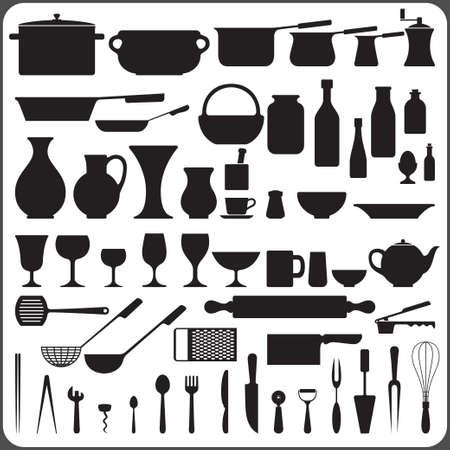 kitchenware set of 57 object silhouettes  Ilustração