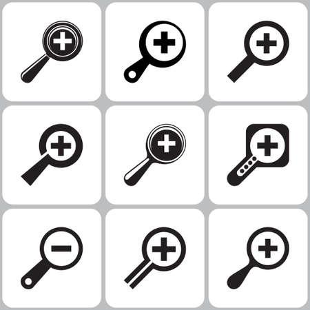 scrutiny: iconos lupa establecen Vectores