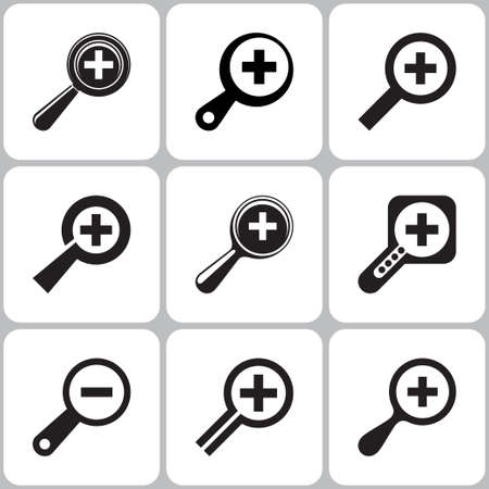 magnifier icons set
