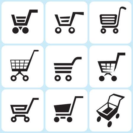 checkout button: shopping cart icons set Illustration