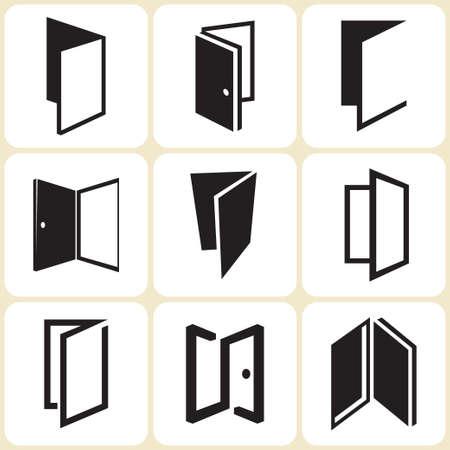 ドアのアイコンを設定  イラスト・ベクター素材