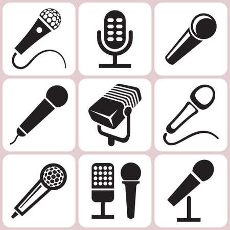 microfono antiguo: iconos de los micr?fonos establece Vectores