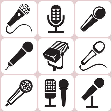 old microphone: microphone icons set Illustration