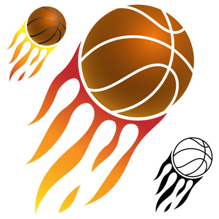 basketball ball on fire: basketball icon Illustration