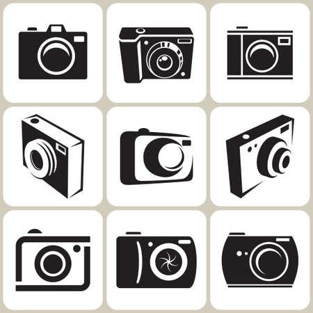 camera symbol: photo camera icon set