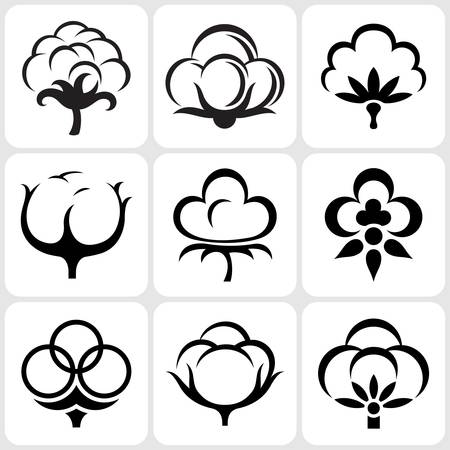 cotton: cotton icon set Illustration