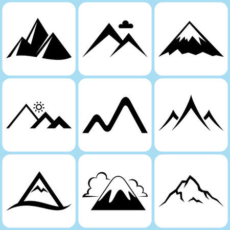 rocky mountains: mountain icons set Illustration