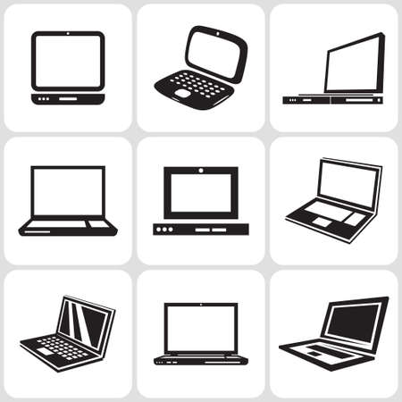laptop: notebook computer icons set