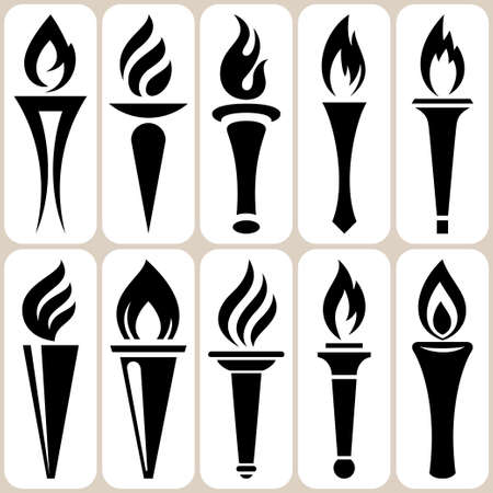 history icon: torch icons set