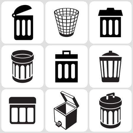 recycle bin: trash can icons set Illustration