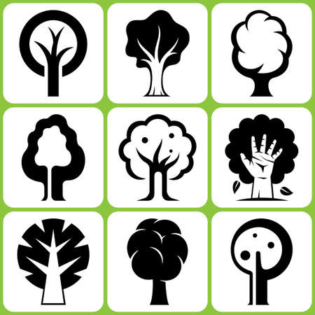 abstract design elements: tree icon set
