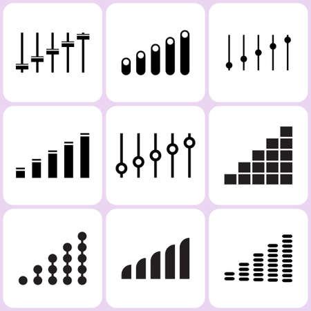 sound mixer: level and volume icons set