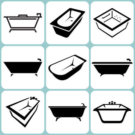 bath tub: baths icons set