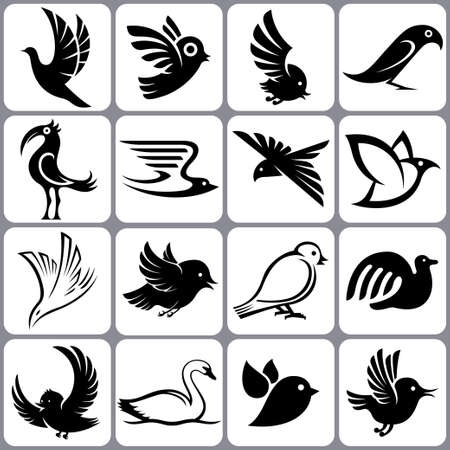 birds  silhouette: bird icons set