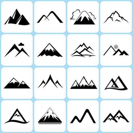 leque: ícones montanha definir