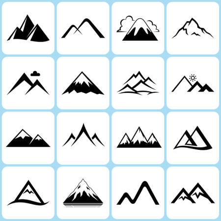 snow mountains: mountain icons set Illustration