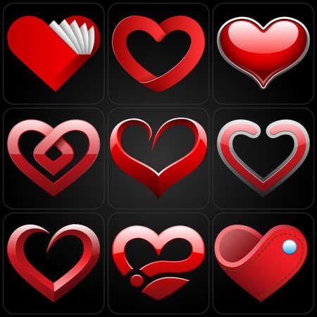 ornate heart: heart icons set Illustration